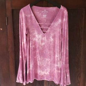 American Eagle Soft & Sexy bell sleeve tie dye S